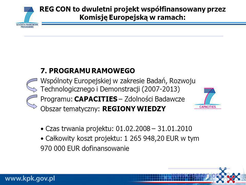 REG CON to dwuletni projekt współfinansowany przez Komisję Europejską w ramach: