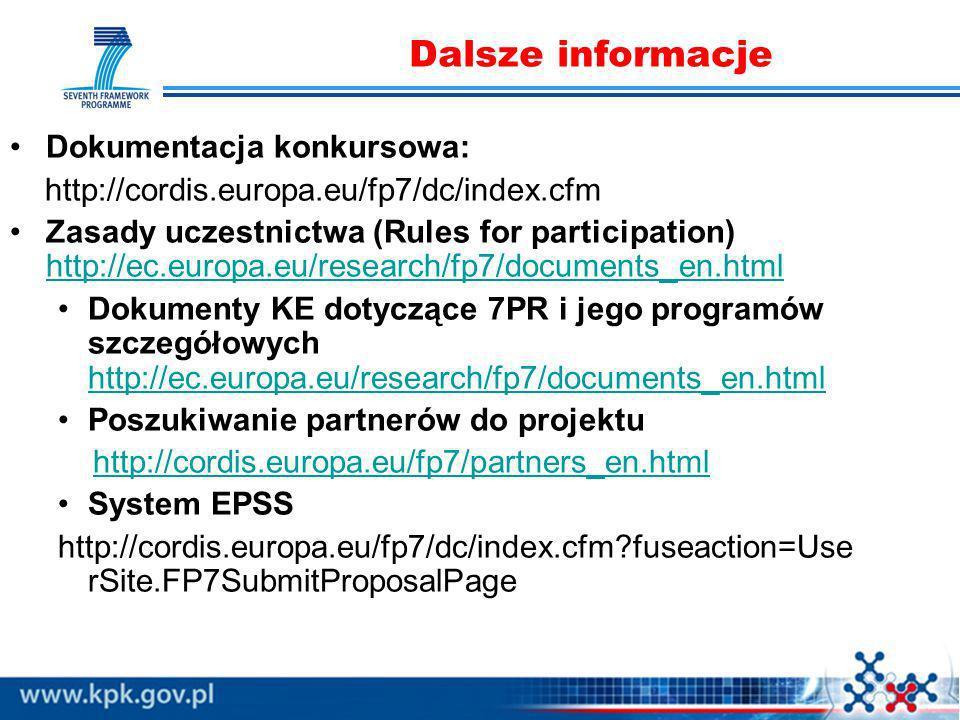 Dalsze informacje Dokumentacja konkursowa: