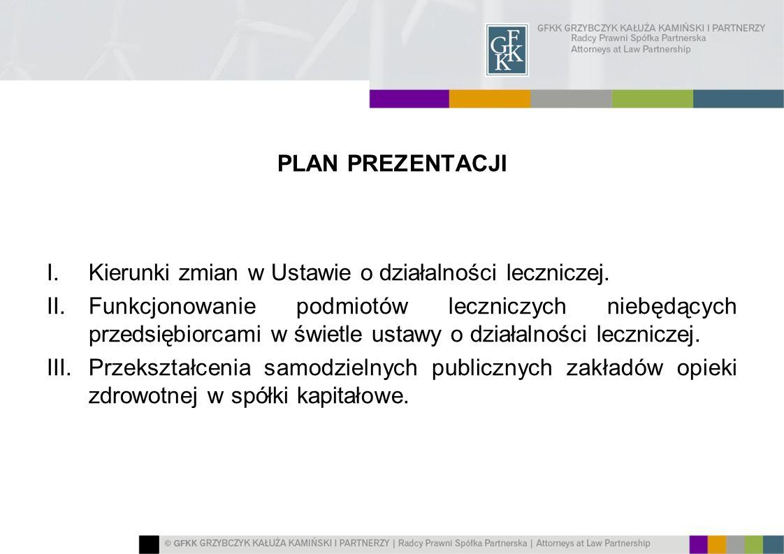PLAN PREZENTACJI Kierunki zmian w Ustawie o działalności leczniczej.