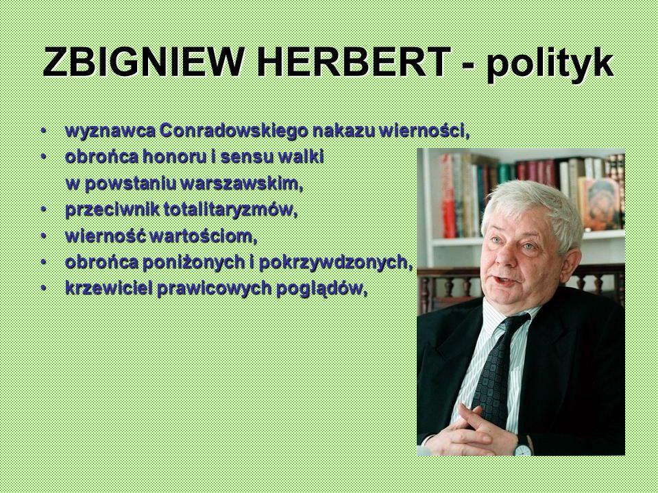 ZBIGNIEW HERBERT - polityk