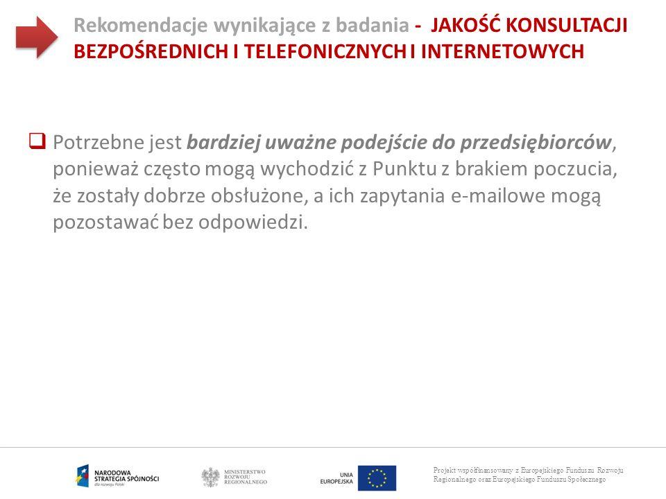 Rekomendacje wynikające z badania - JAKOŚĆ KONSULTACJI BEZPOŚREDNICH I TELEFONICZNYCH I INTERNETOWYCH