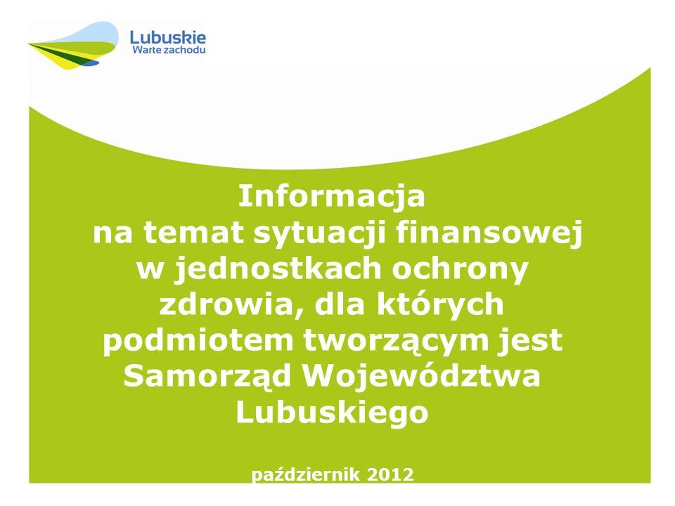Informacja na temat sytuacji finansowej w jednostkach ochrony zdrowia, dla których podmiotem tworzącym jest Samorząd Województwa Lubuskiego.