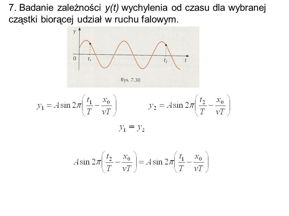 7. Badanie zależności y(t) wychylenia od czasu dla wybranej cząstki biorącej udział w ruchu falowym.