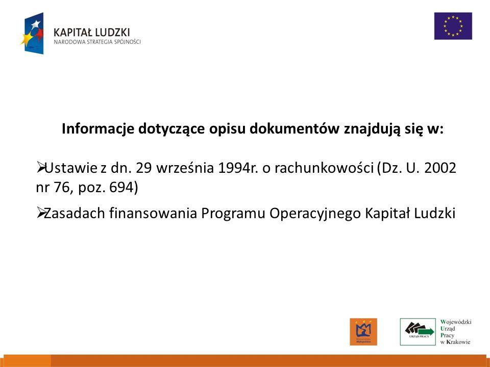 Informacje dotyczące opisu dokumentów znajdują się w: