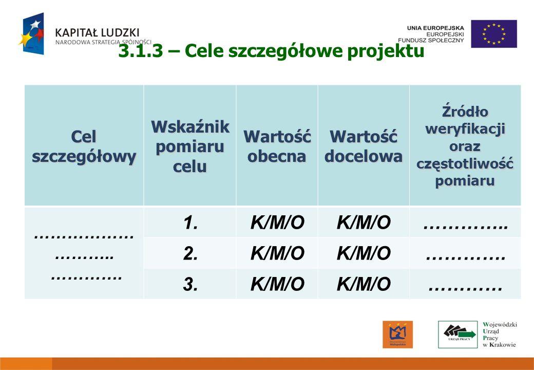 3.1.3 – Cele szczegółowe projektu