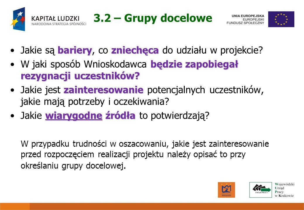 3.2 – Grupy docelowe Jakie są bariery, co zniechęca do udziału w projekcie W jaki sposób Wnioskodawca będzie zapobiegał rezygnacji uczestników