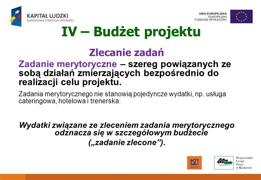 IV – Budżet projektu Zlecanie zadań