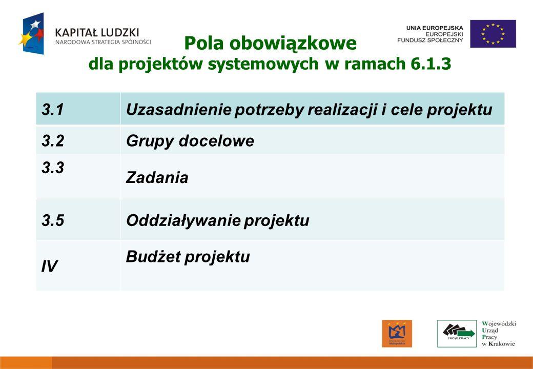 Pola obowiązkowe dla projektów systemowych w ramach 6.1.3