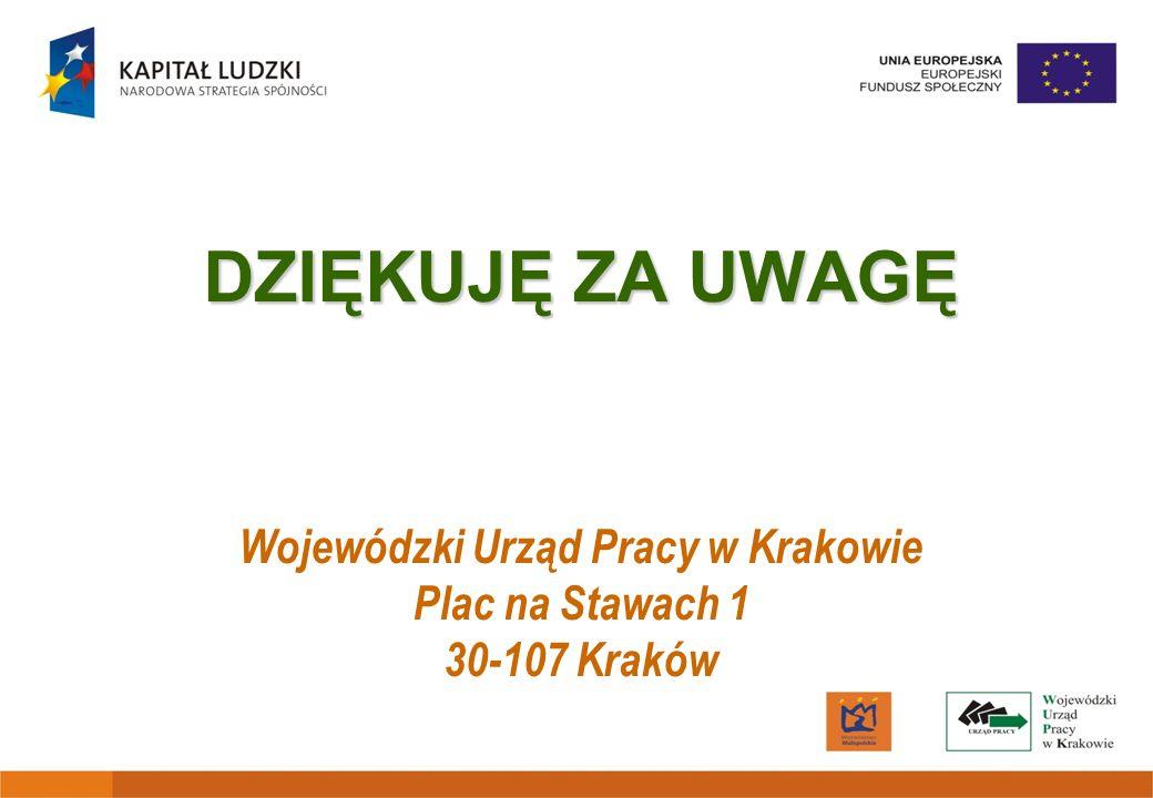 DZIĘKUJĘ ZA UWAGĘ Wojewódzki Urząd Pracy w Krakowie Plac na Stawach 1 30-107 Kraków