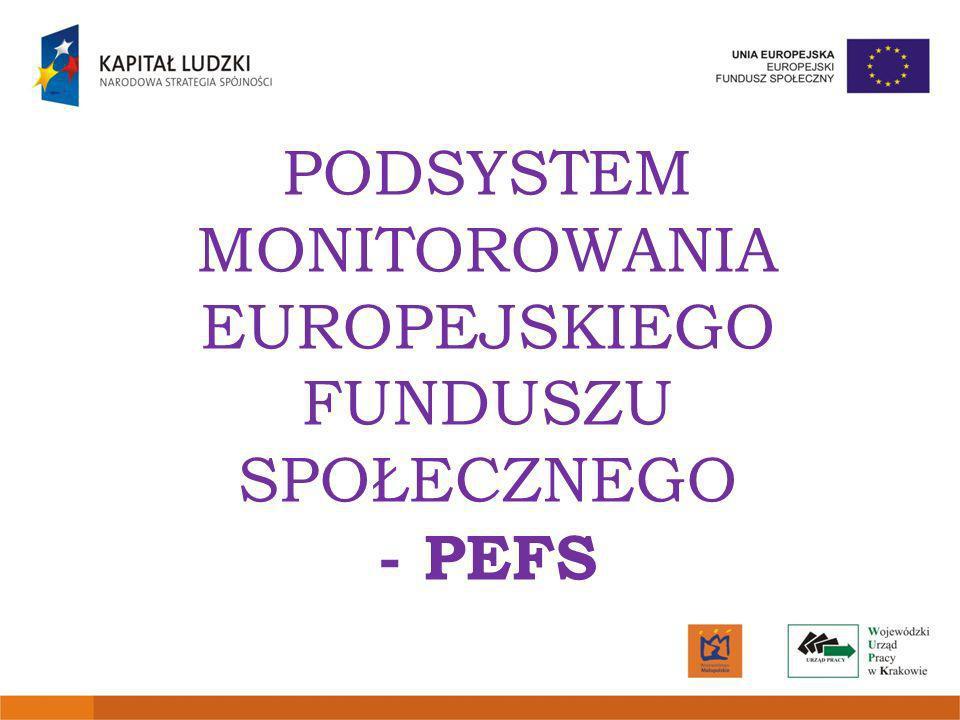 PODSYSTEM MONITOROWANIA EUROPEJSKIEGO FUNDUSZU SPOŁECZNEGO - PEFS