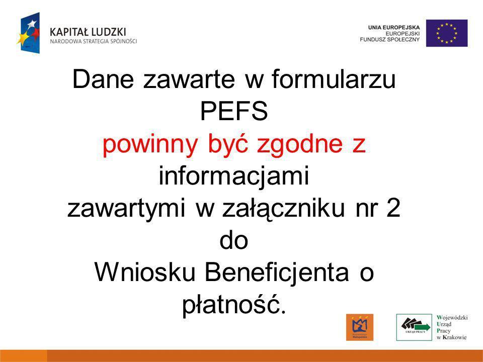 Dane zawarte w formularzu PEFS powinny być zgodne z informacjami