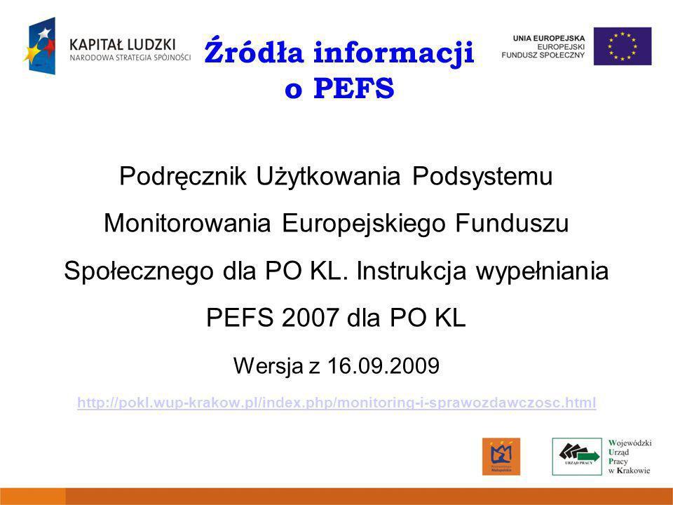 Źródła informacji o PEFS