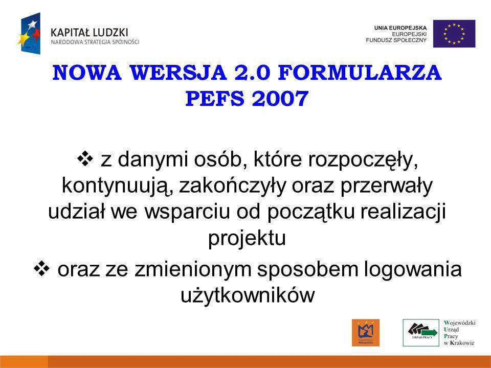 NOWA WERSJA 2.0 FORMULARZA PEFS 2007