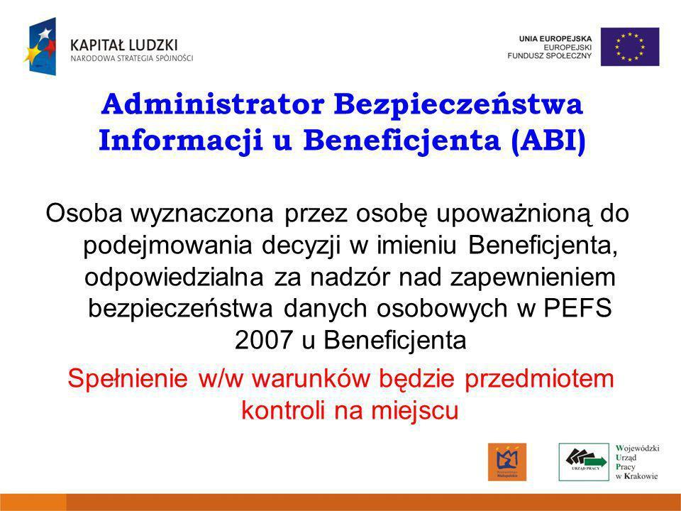 Administrator Bezpieczeństwa Informacji u Beneficjenta (ABI)
