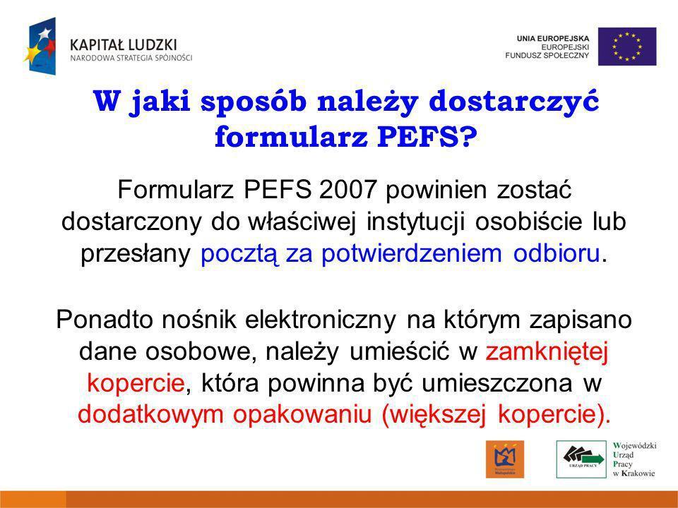 W jaki sposób należy dostarczyć formularz PEFS