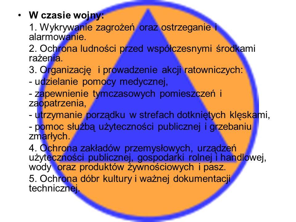 W czasie wojny: 1. Wykrywanie zagrożeń oraz ostrzeganie i alarmowanie. 2. Ochrona ludności przed współczesnymi środkami rażenia.