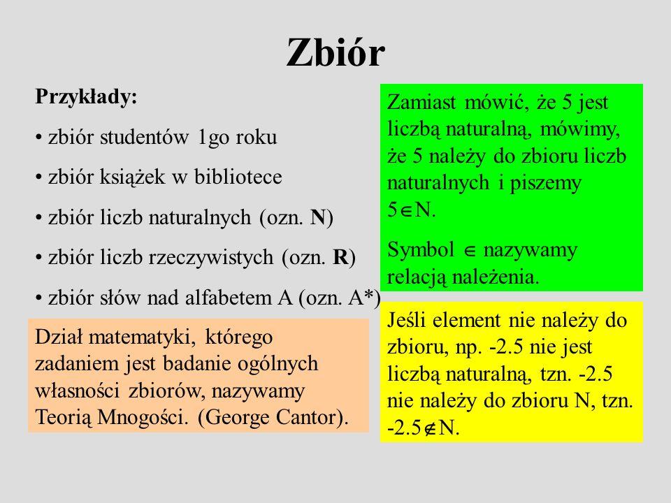 Zbiór Przykłady: zbiór studentów 1go roku. zbiór książek w bibliotece. zbiór liczb naturalnych (ozn. N)