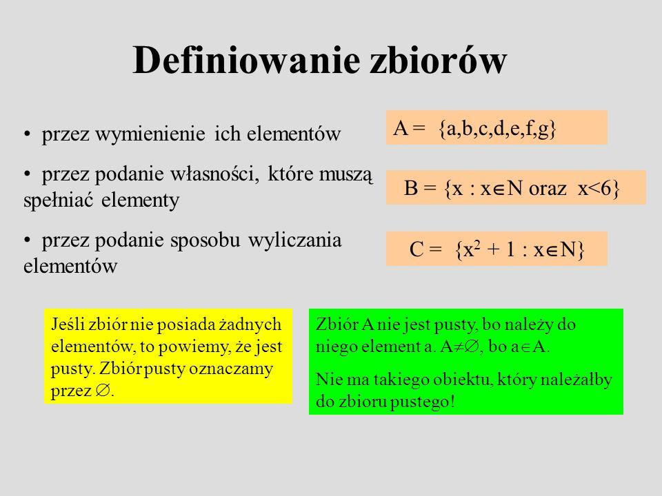 Definiowanie zbiorów A = {a,b,c,d,e,f,g}