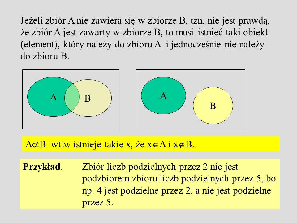Jeżeli zbiór A nie zawiera się w zbiorze B, tzn
