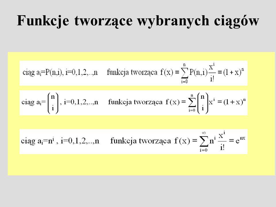 Funkcje tworzące wybranych ciągów