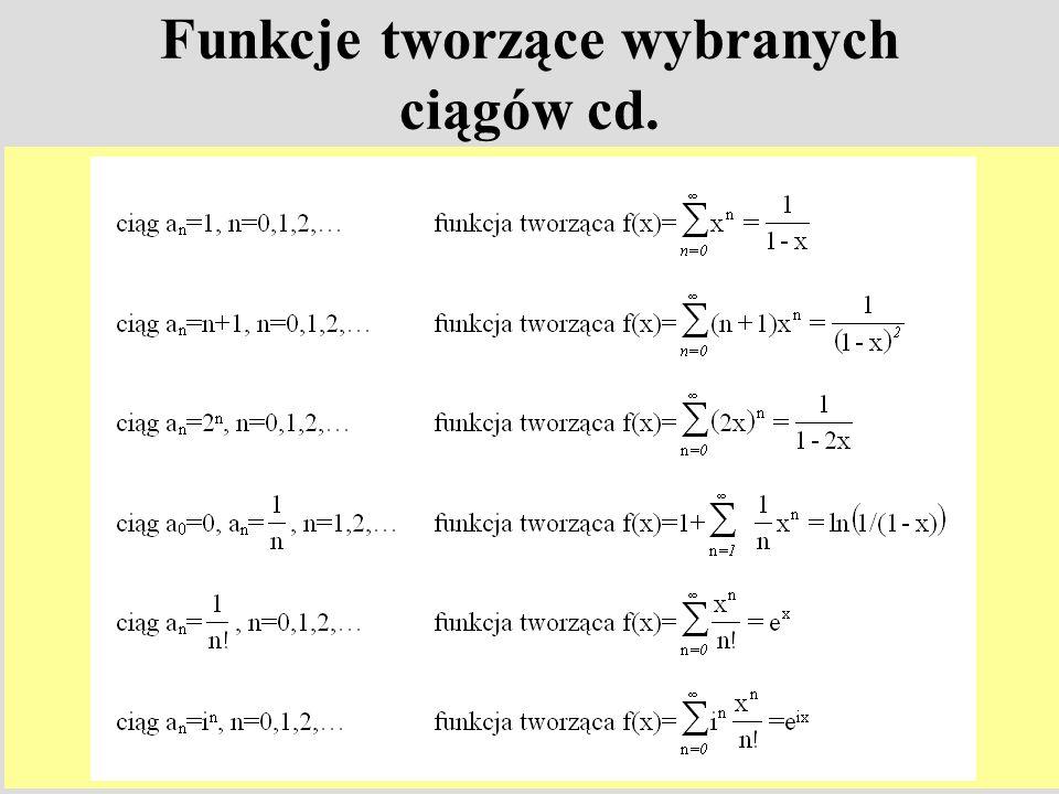 Funkcje tworzące wybranych ciągów cd.
