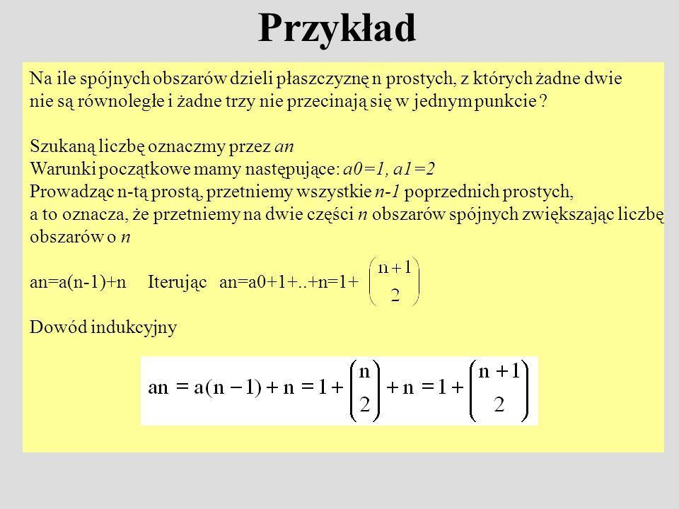 Przykład Na ile spójnych obszarów dzieli płaszczyznę n prostych, z których żadne dwie.