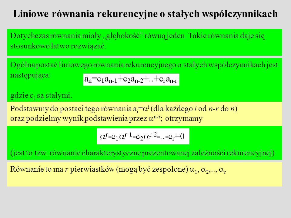 Liniowe równania rekurencyjne o stałych współczynnikach