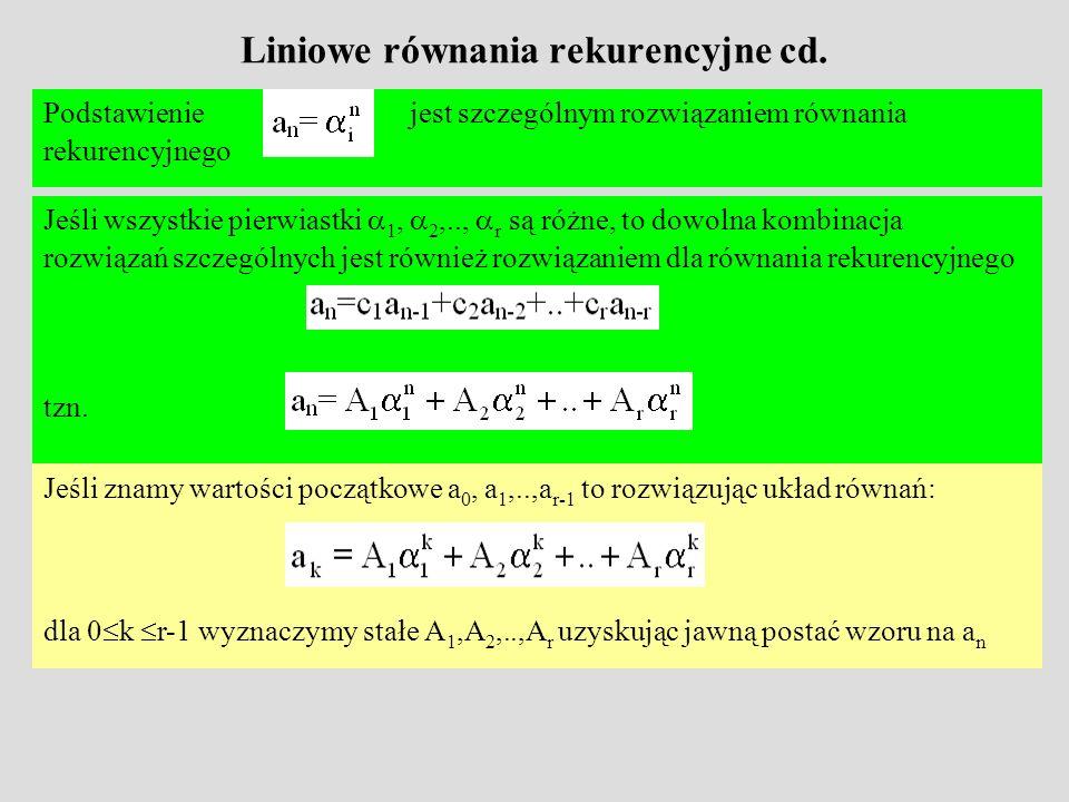 Liniowe równania rekurencyjne cd.