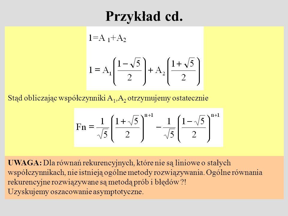 Przykład cd.Stąd obliczając współczynniki A1,A2 otrzymujemy ostatecznie. UWAGA: Dla równań rekurencyjnych, które nie są liniowe o stałych.