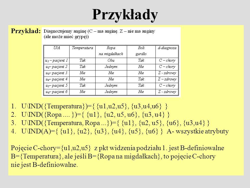 Przykłady Przykład: 1. U\IND({Temperatura})={ {u1,u2,u5}, {u3,u4,u6} }