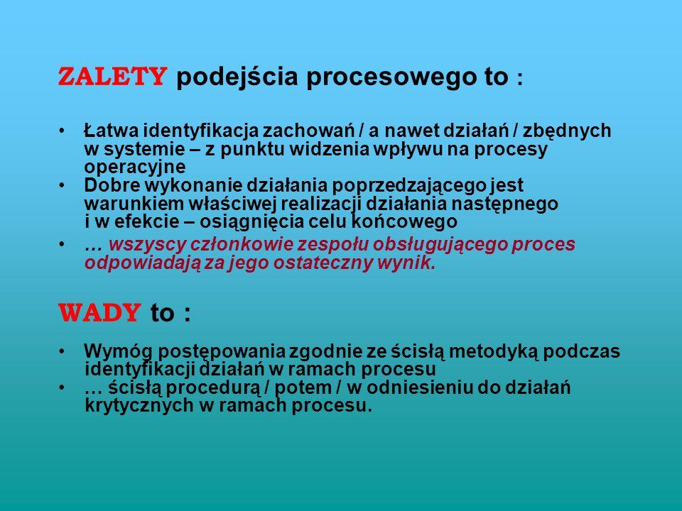 ZALETY podejścia procesowego to :