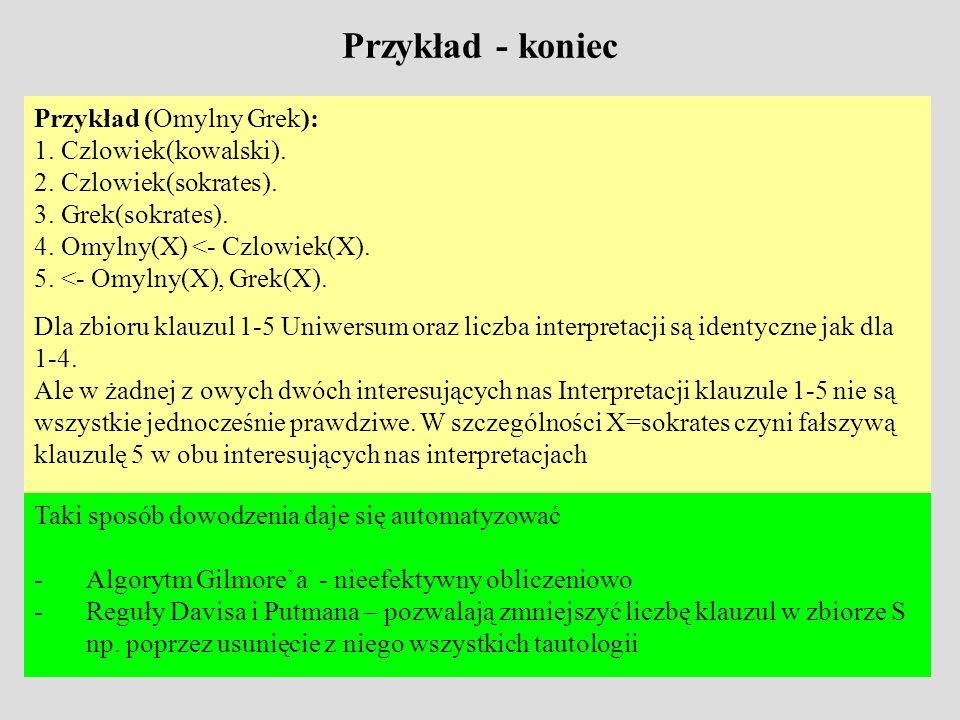 Przykład - koniec Przykład (Omylny Grek): 1. Czlowiek(kowalski).