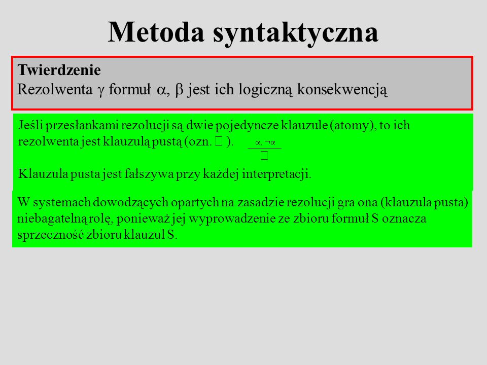 Metoda syntaktyczna Twierdzenie