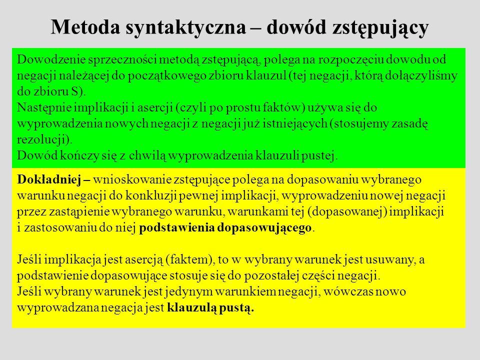 Metoda syntaktyczna – dowód zstępujący