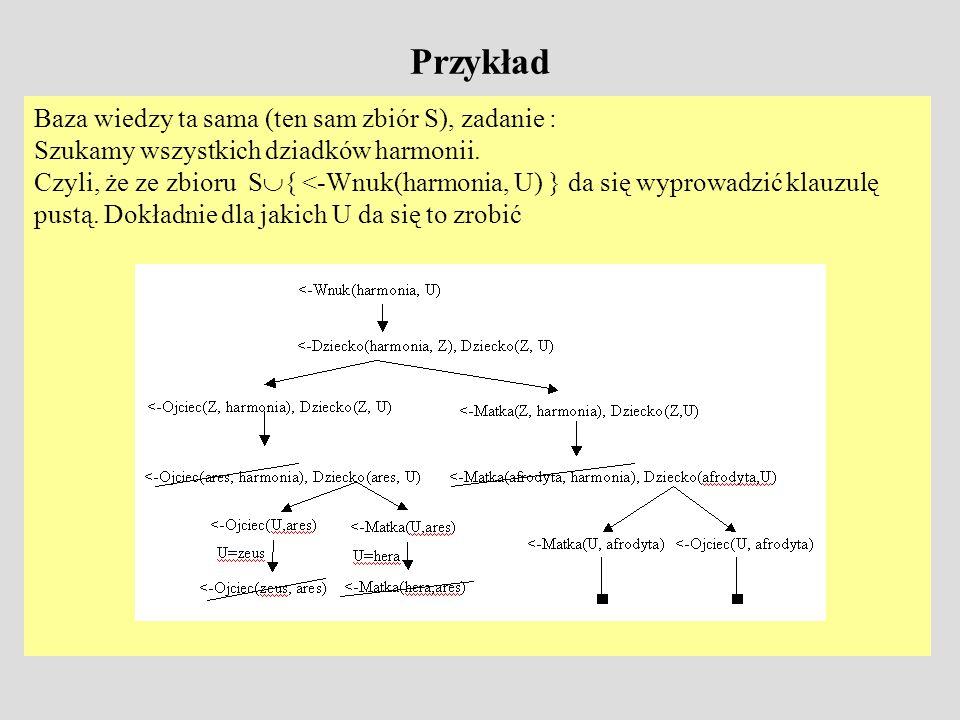 Przykład Baza wiedzy ta sama (ten sam zbiór S), zadanie :