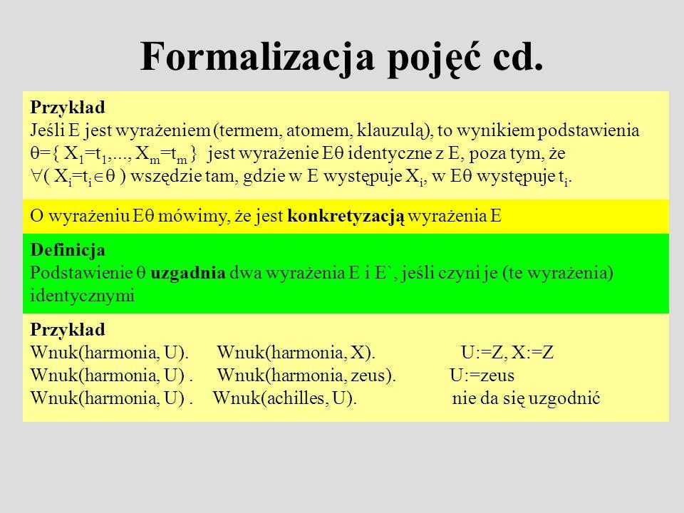 Formalizacja pojęć cd. Przykład