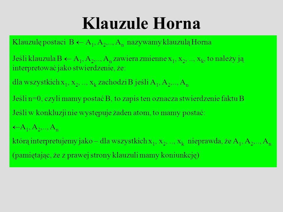 Klauzule Horna Klauzulę postaci B  A1, A2,.., An nazywamy klauzulą Horna.
