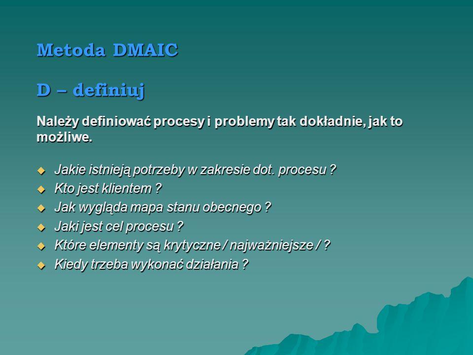 Metoda DMAIC D – definiuj