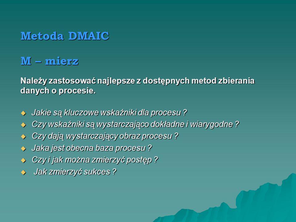 Metoda DMAIC M – mierz. Należy zastosować najlepsze z dostępnych metod zbierania. danych o procesie.