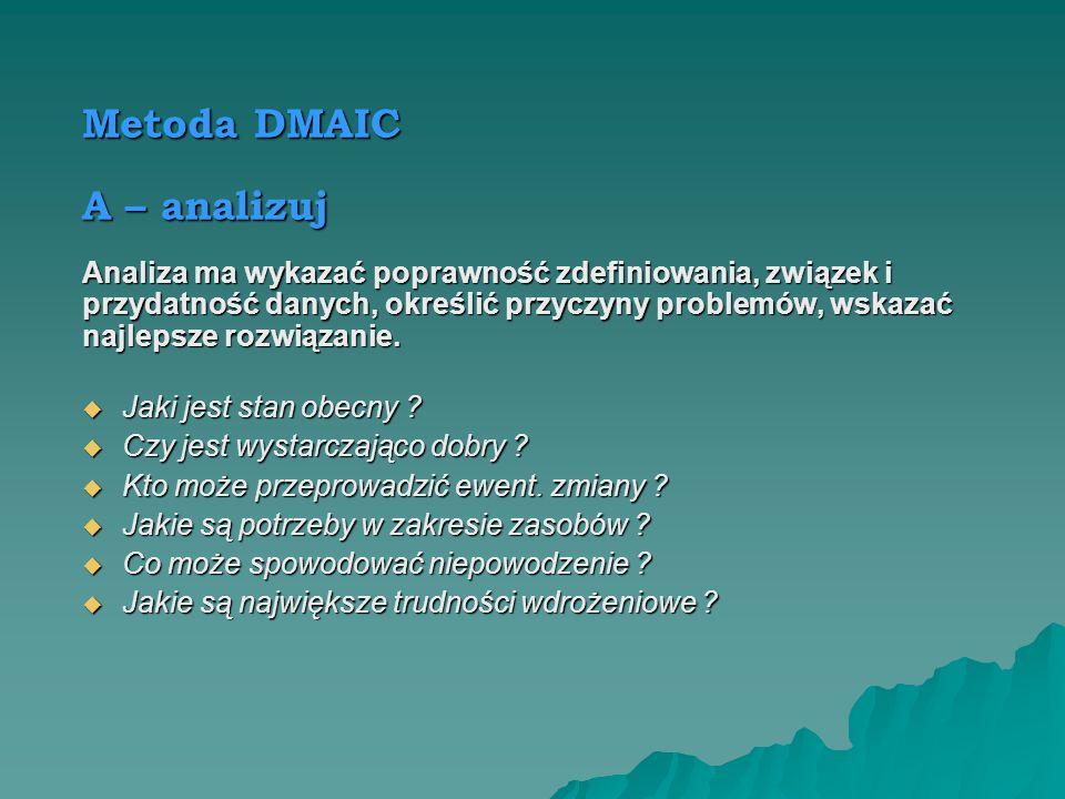 Metoda DMAIC A – analizuj