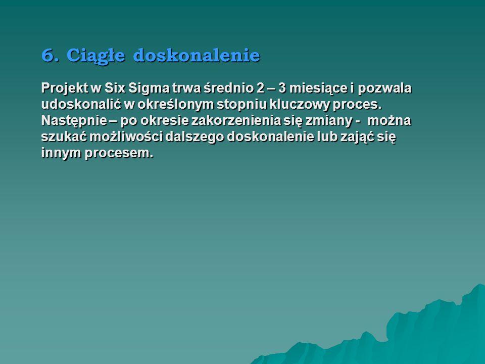 6. Ciągłe doskonalenieProjekt w Six Sigma trwa średnio 2 – 3 miesiące i pozwala. udoskonalić w określonym stopniu kluczowy proces.