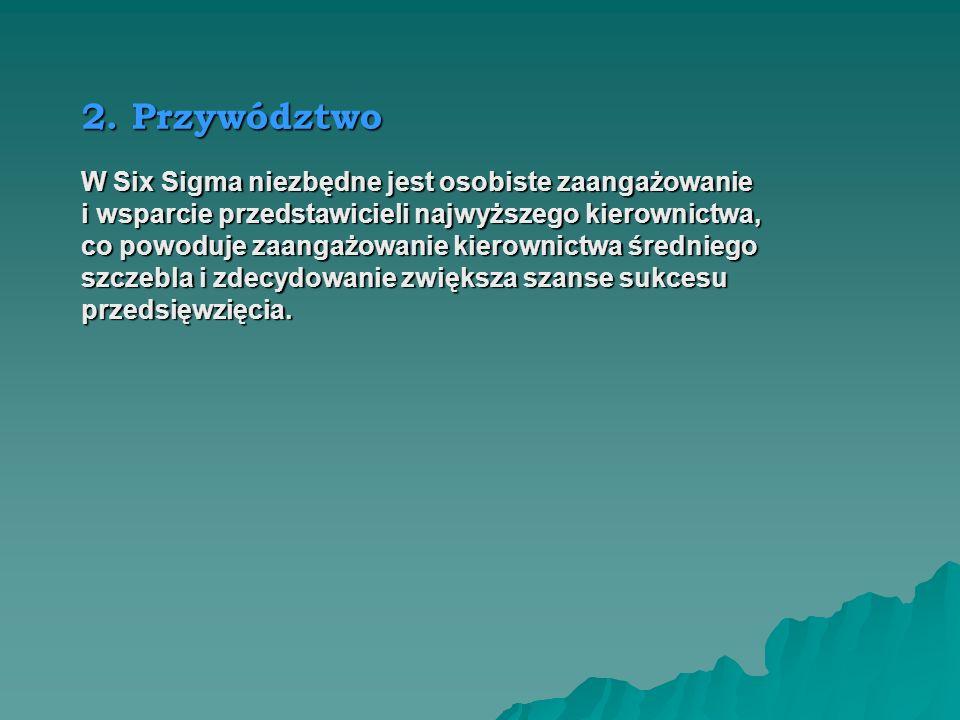 2. Przywództwo W Six Sigma niezbędne jest osobiste zaangażowanie
