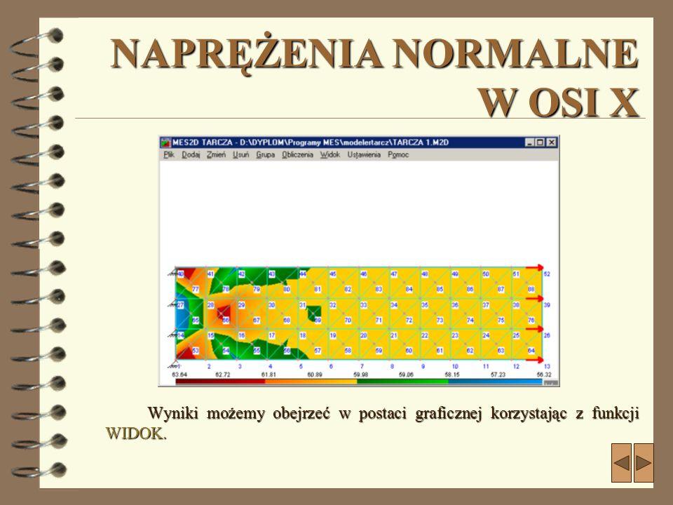NAPRĘŻENIA NORMALNE W OSI X