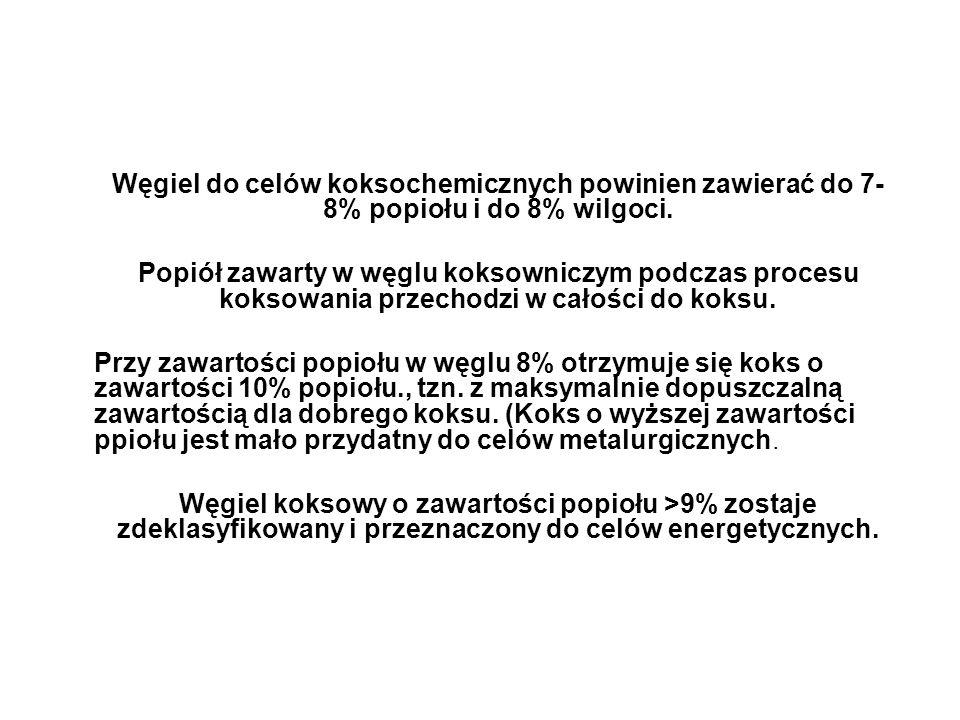 Węgiel do celów koksochemicznych powinien zawierać do 7-8% popiołu i do 8% wilgoci.