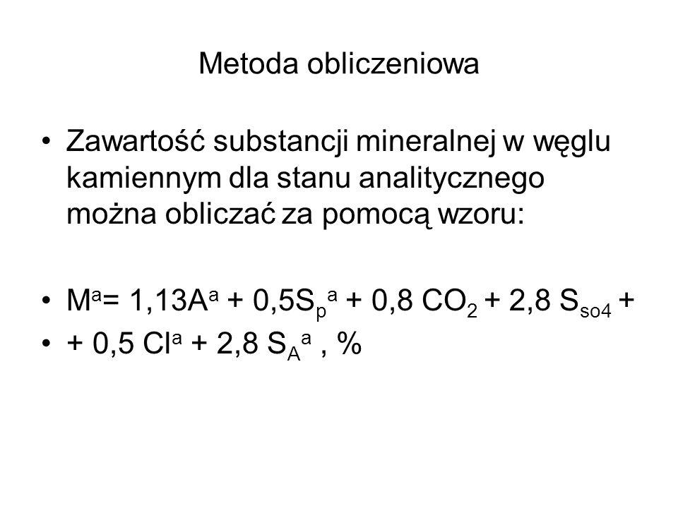 Metoda obliczeniowa Zawartość substancji mineralnej w węglu kamiennym dla stanu analitycznego można obliczać za pomocą wzoru: