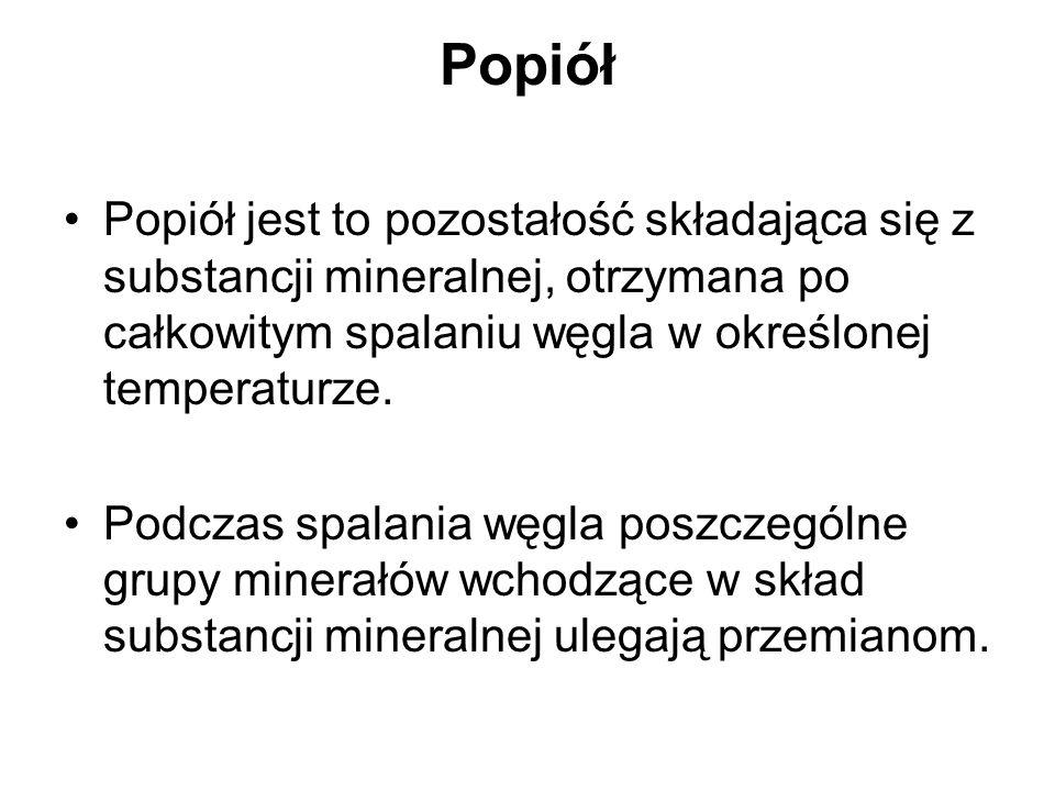 Popiół Popiół jest to pozostałość składająca się z substancji mineralnej, otrzymana po całkowitym spalaniu węgla w określonej temperaturze.