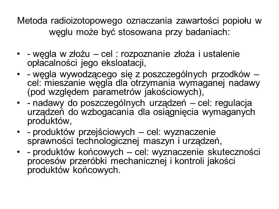 Metoda radioizotopowego oznaczania zawartości popiołu w węglu może być stosowana przy badaniach: