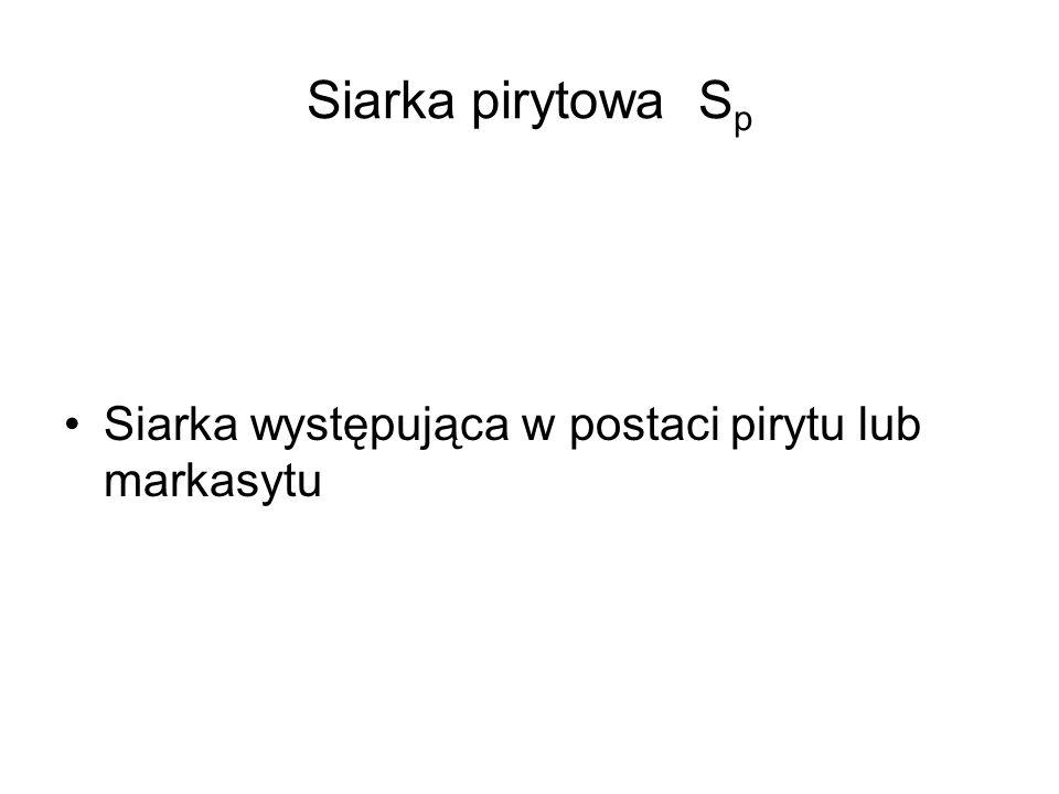 Siarka pirytowa Sp Siarka występująca w postaci pirytu lub markasytu