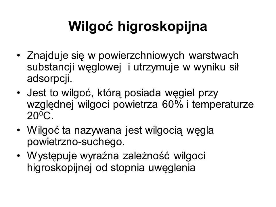 Wilgoć higroskopijna Znajduje się w powierzchniowych warstwach substancji węglowej i utrzymuje w wyniku sił adsorpcji.