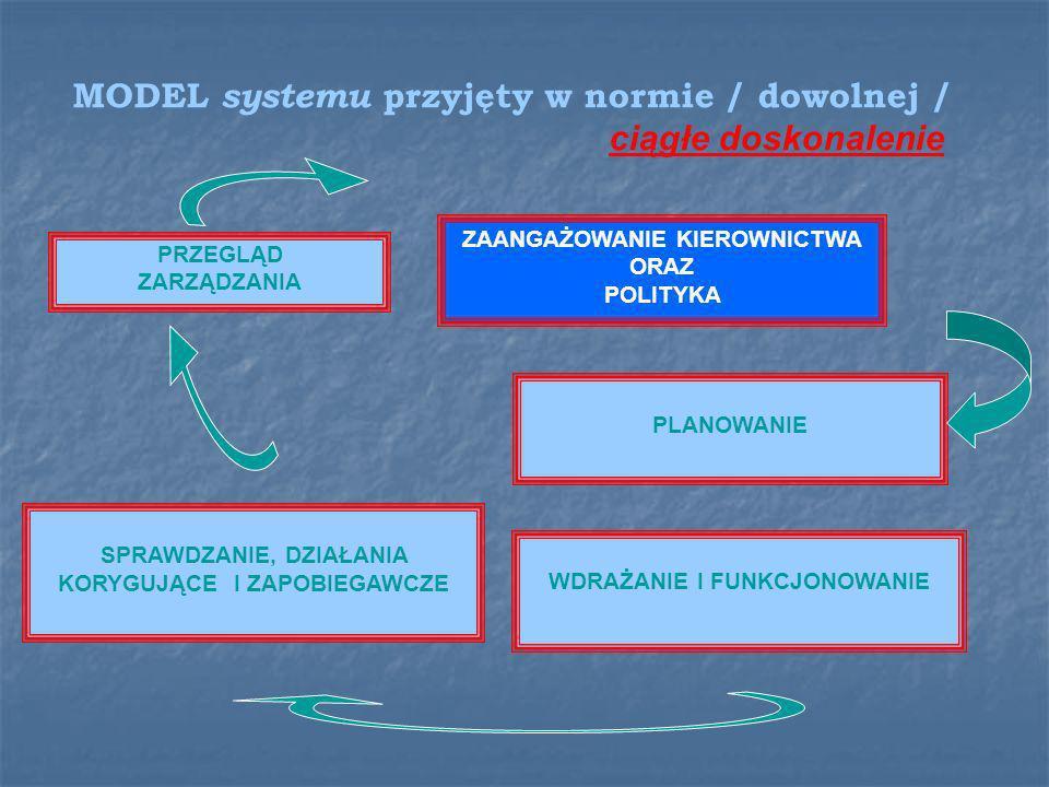 MODEL systemu przyjęty w normie / dowolnej /